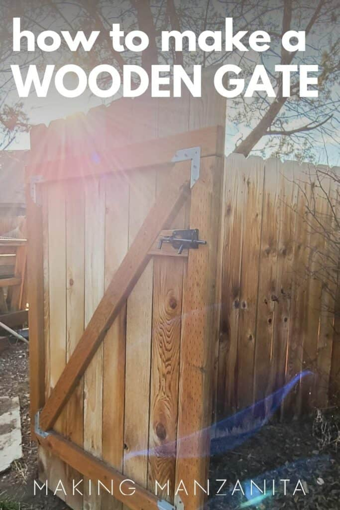 Wooden gate on a fence opened with a black latch with text overlay that says how to make a wooden gate
