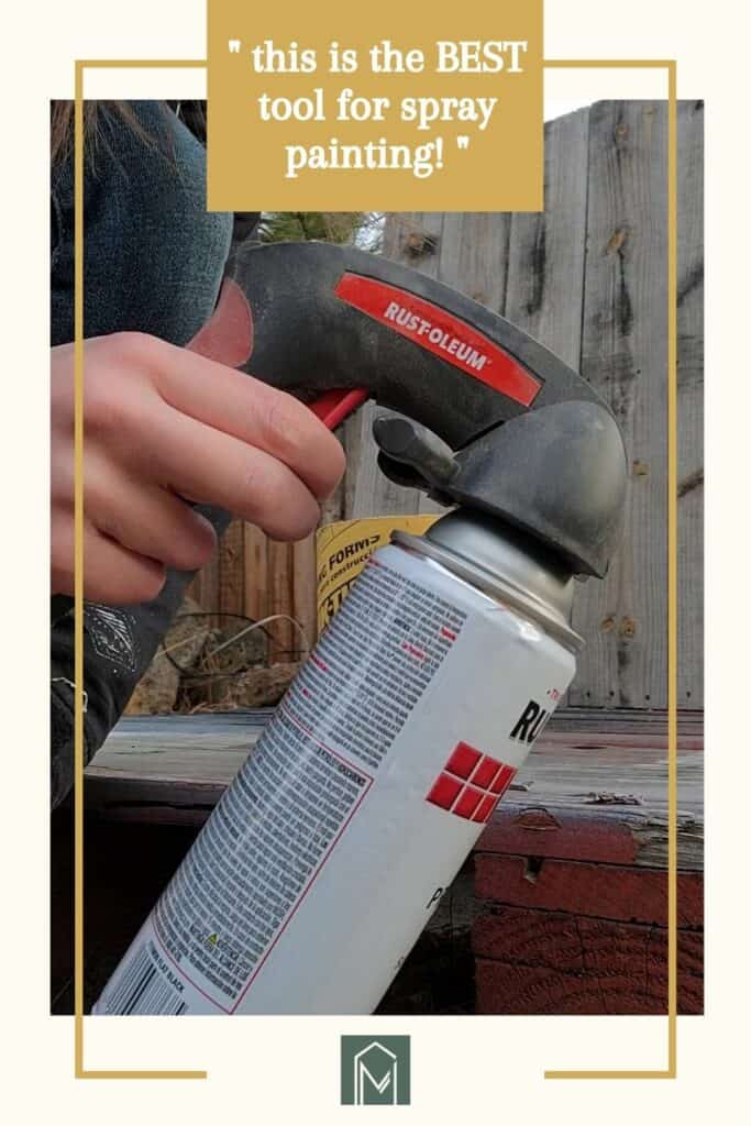 Hand holding a spray paint with text overlay that says this is the best tool for spray painting! and making manzanita logo