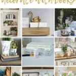 Collage of decorative books styled in homes with text overlay that says 14+ ways to decorate with books