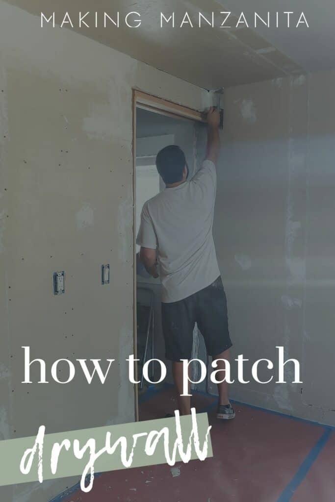 Man adding texture to rough drywall that has been patched and repaired with text overlay that says how to patch drywall
