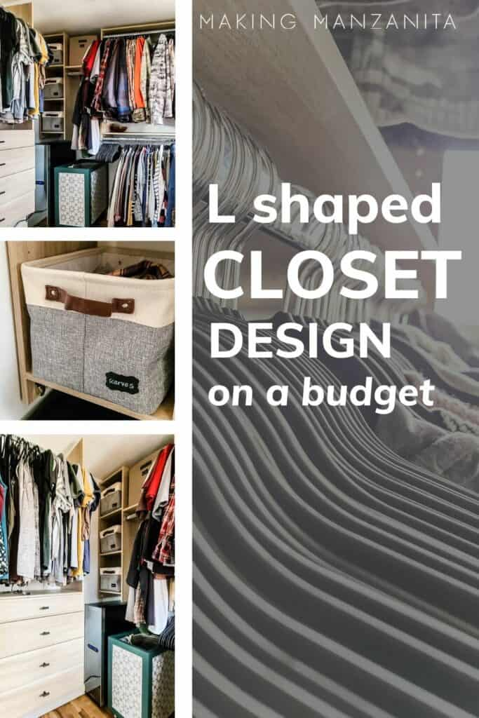 Collage showing master closet space with text overlay that says l shaped closet design on a budget