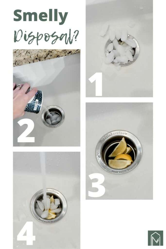 Grid steps on how to clean your stinky garbage disposal with text overlay that says smelly garbage
