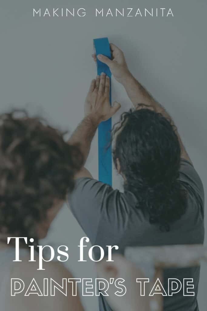 Person pressing blue painters tape to wall with text overlay that says tips for painter's tape
