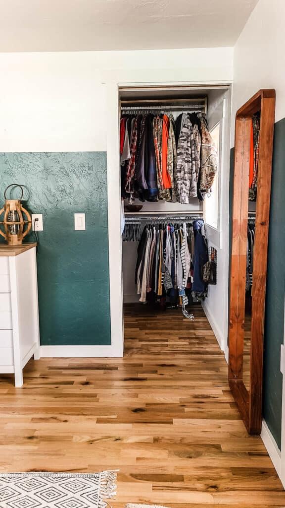 walk in closet with pocket door