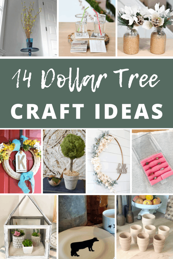 10 grid of different crafts with text overlay that says 14 dollar tree craft ideas