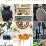 six grid of crafts with spray paint with text overlay that says 27+ crafts with spray paint to try