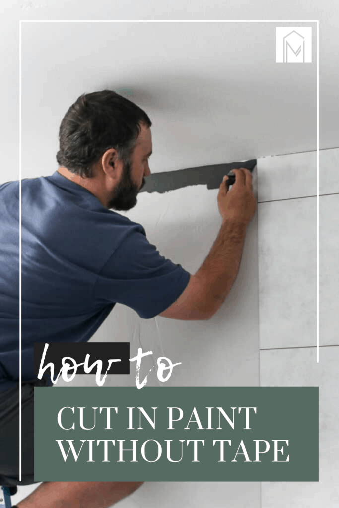 Man on top of a ladder holding a brush painting the edges of the ceiling with gray paint with text overlay that says how to cut in paint without tape