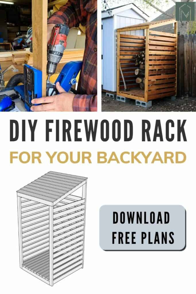 two images on top showing pocket hole being drilled with pocket hole jig and 2nd photo shows wooden firewood storage rack a 3d sketch of the firewood storage rack below and a button that says download free plans with text overlay that says diy firewood rack for your backyard