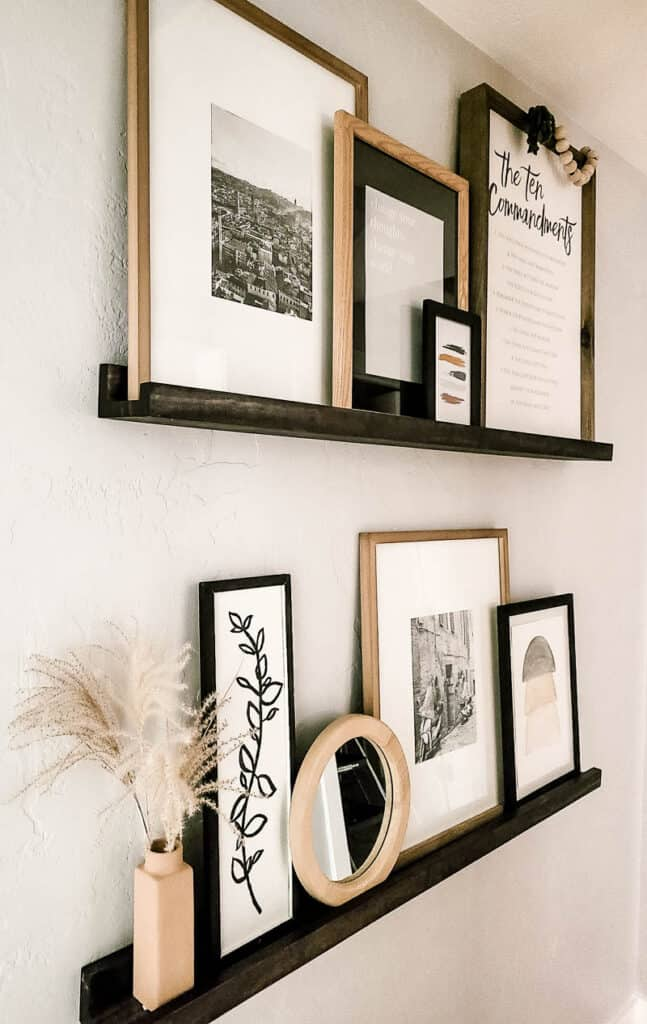 arrangement of items on photo ledge