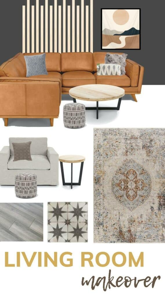 Collage mood board of tan sectional with throw pillows, round light wood coffee table, gray arm chair and light wood side table, boho vintage looking rug, boho tiles with star pattern, gray laminate flooring, dark gray walls, abstract mountain art and slat wall with text overlay that says living room makeover
