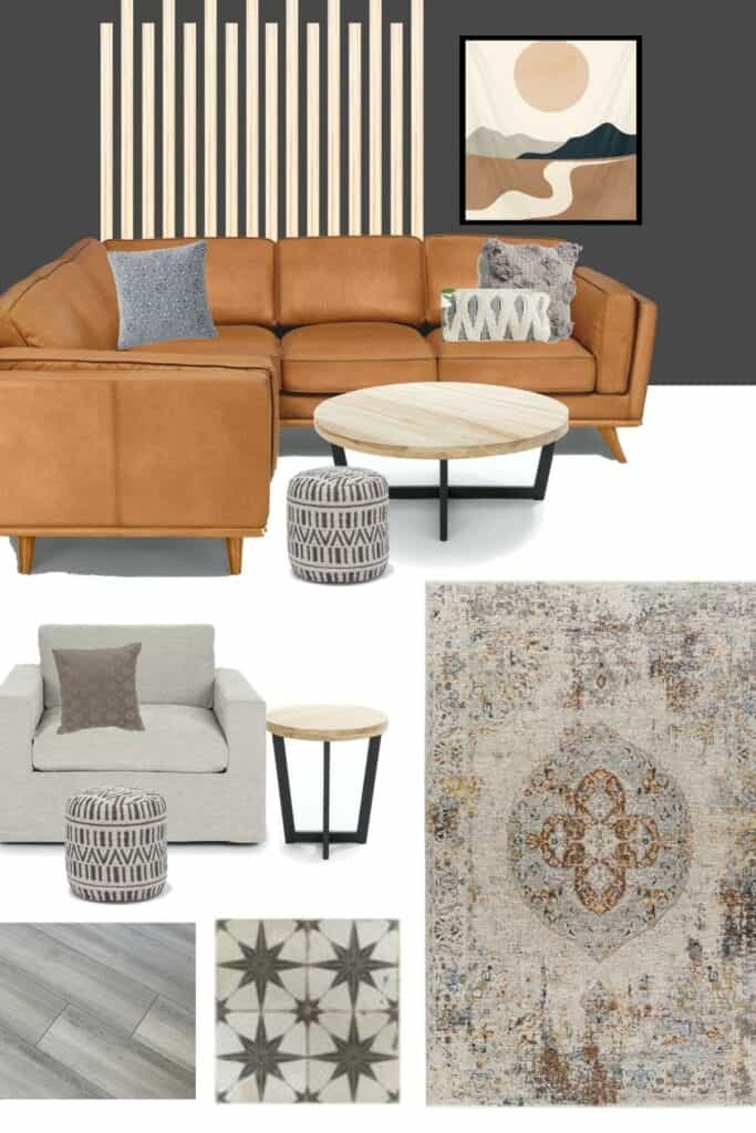vertical wall wood slat accent beside a frame and leather brown sectional couch with gray throw pillows and wooden coffee table, grey single armchair and wooden round side table, vintage looking rug, wood flooring and tiles a look at the modern bohemian living room mood board and design plans