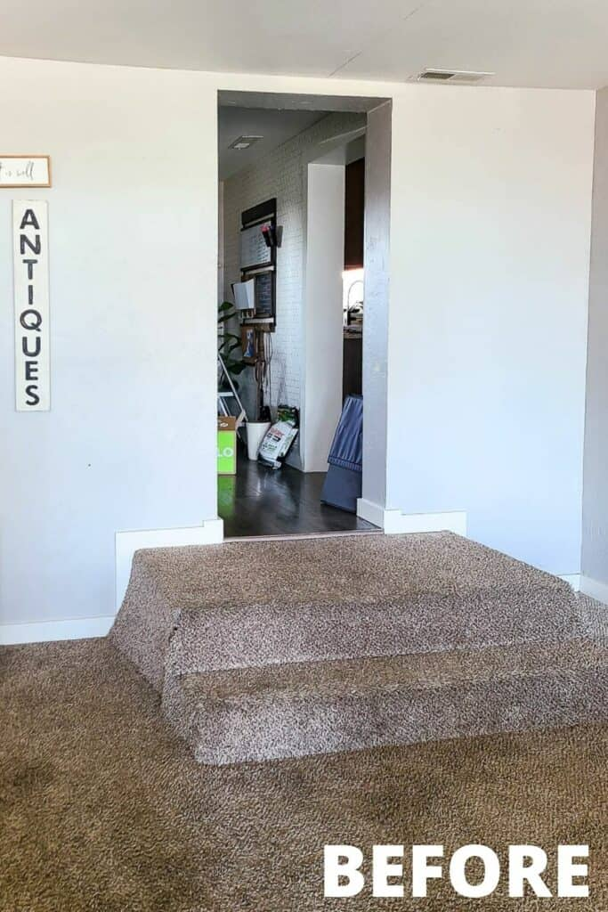 Entry way with two step stairs covered in carpet going to the kitchen area before the renovation