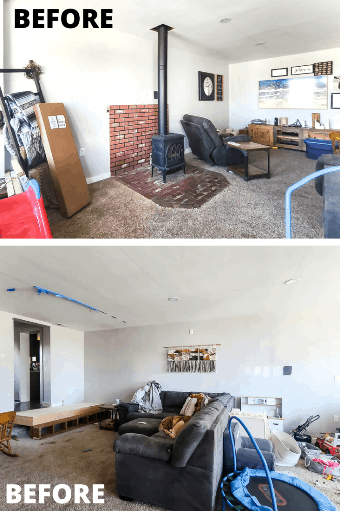 Grid of old living room top photo shows the black fireplace on the brick wall and floor, gray recliner, home media cabinet, wall decor and samsung frame TV, frames, and ladder blanket hanger, below photo shows a dog sitting on the L-shaped coach with throw pillows, kids toys at back