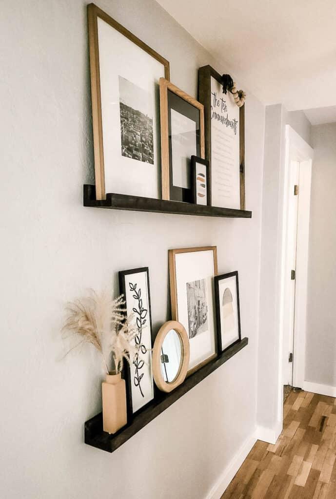 left angle of decor items arranged on photo ledge