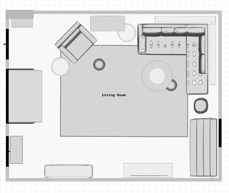 Digital floor plan with furniture layout for large rectangle living room