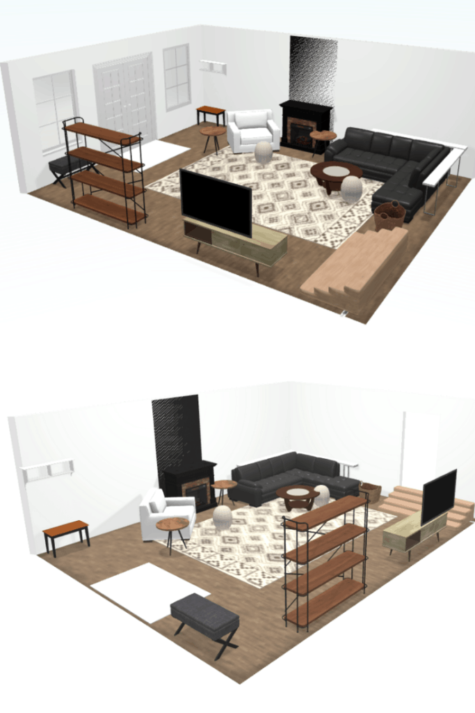 3D of the living room plan from the entrance is a white rug and entryway, farmhouse shelf, and white recliner, renovated fireplace, L-shaped couch with basket beside it, circular coffee table and in front the seats is the wooden home entertainment center with television and second photo is another angle of the living room with the same furniture