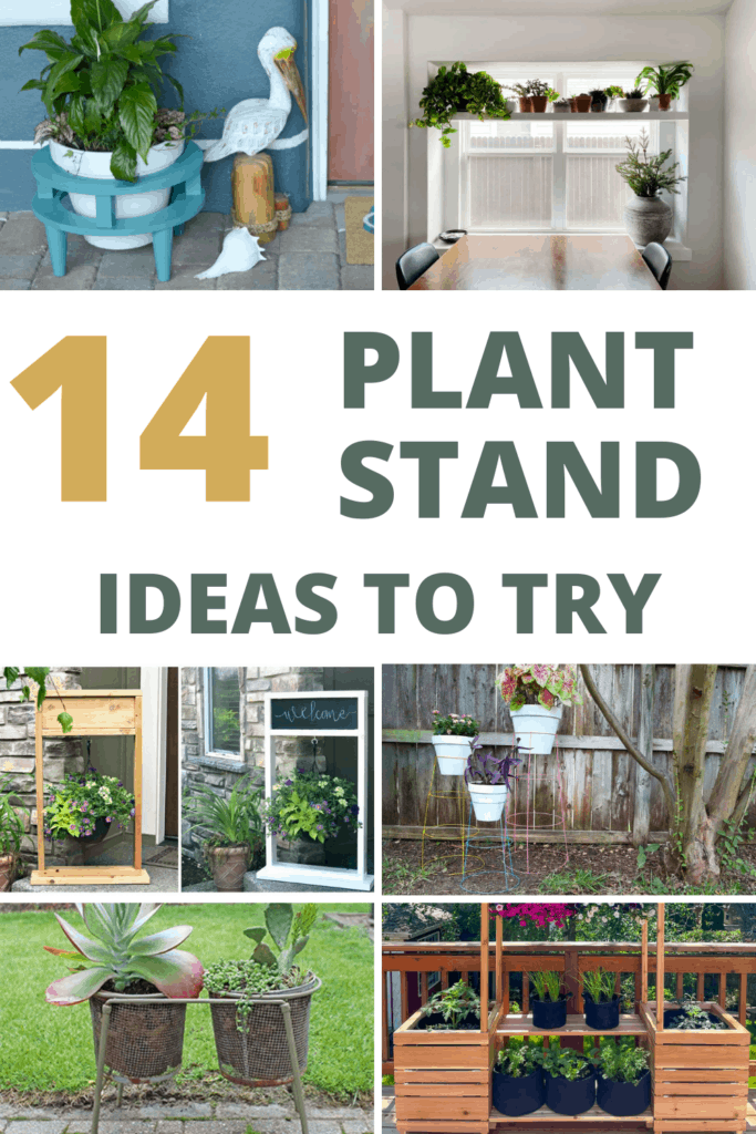 Collage of different plant stand indoors and outdoors with text overlay that says 14 plant stand ideas to try