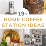 Collage of four different coffee areas with text overlay that says 19+ home coffee station ideas