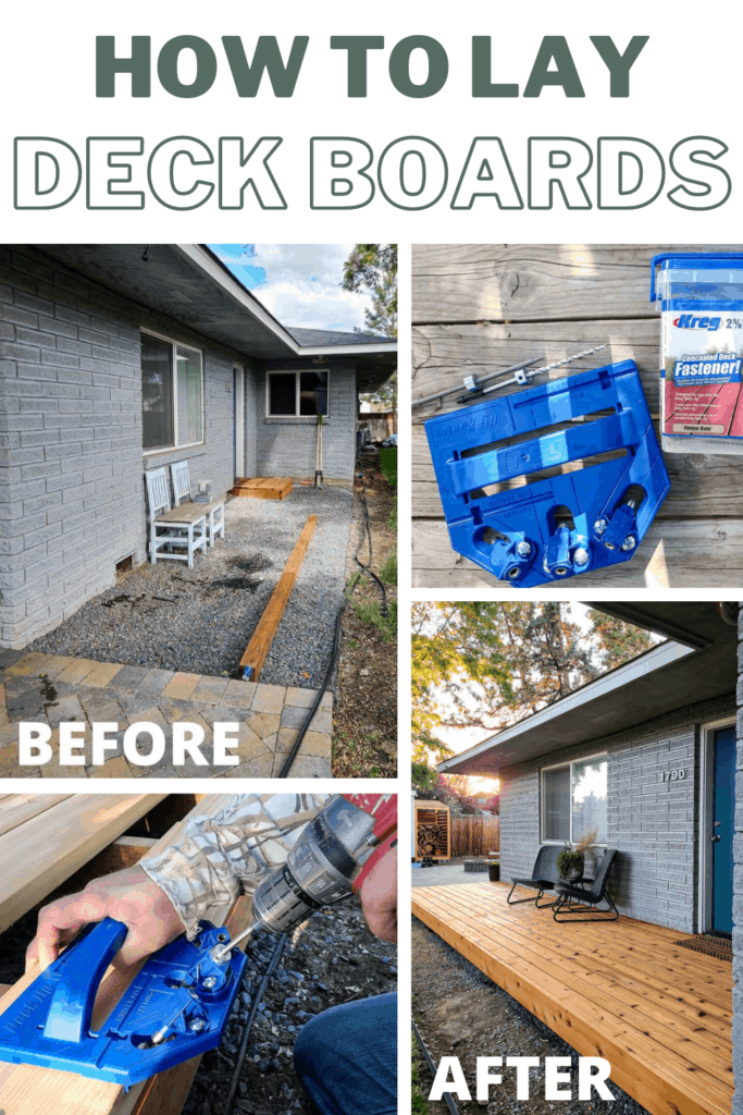 Collage of backyard before wood deck installation with kreg jig and screws, man holding kreg jig laying deck boards and after the installation of wood deck in the backyard with text overlay that says how to lay deck boards