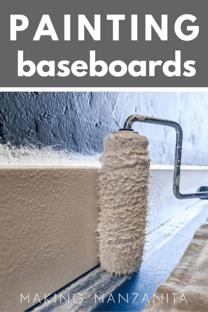Roller paint brush painting the trim white with text overlay that says painting baseboards
