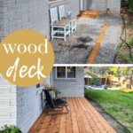 Backyard without deck boards before the makeover and backyard with deck boards after installation with text overlay that says wood deck