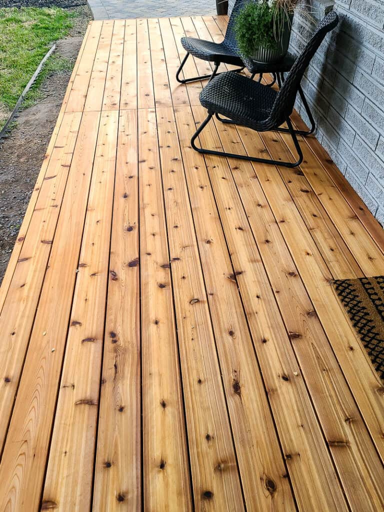 Close up of the wood deck in the backyard