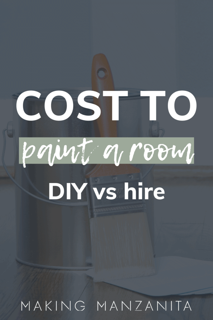 Paint in can and paintbrush with text overlay that says cost to paint a room DIY vs hire