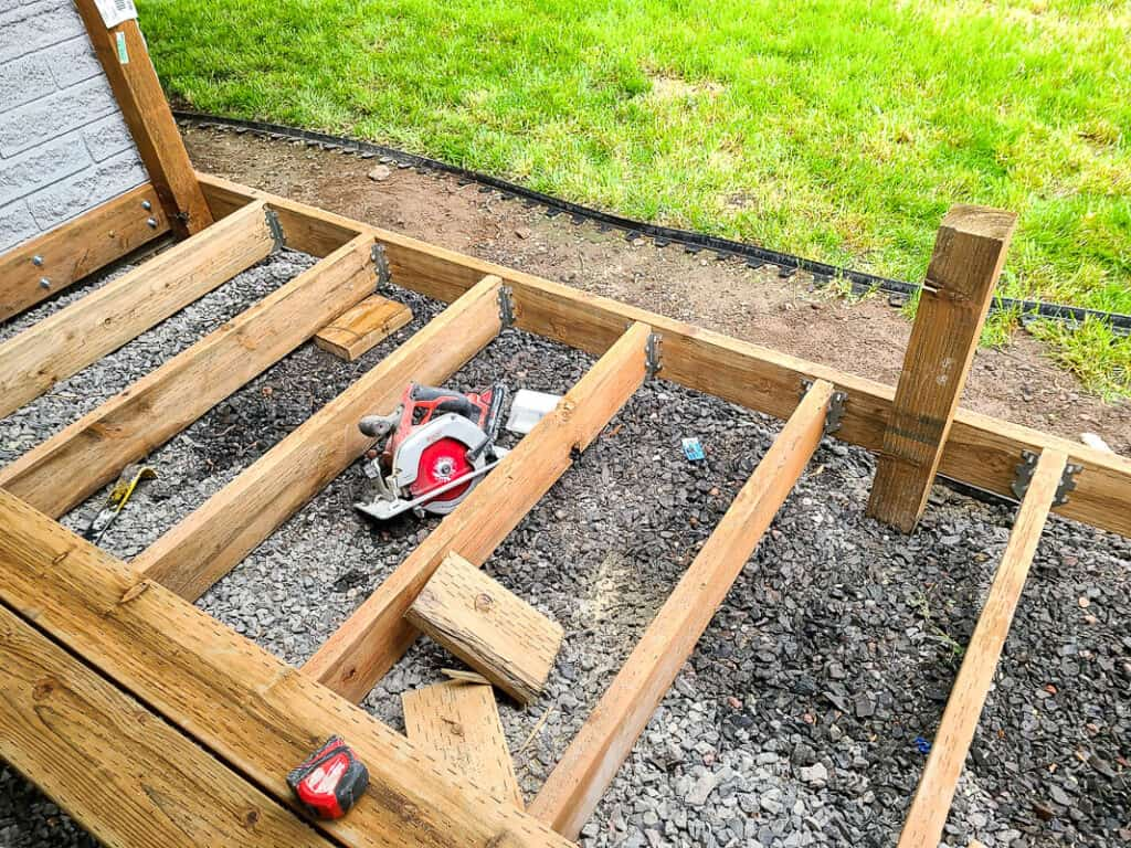 Wood attached forming a deck frame