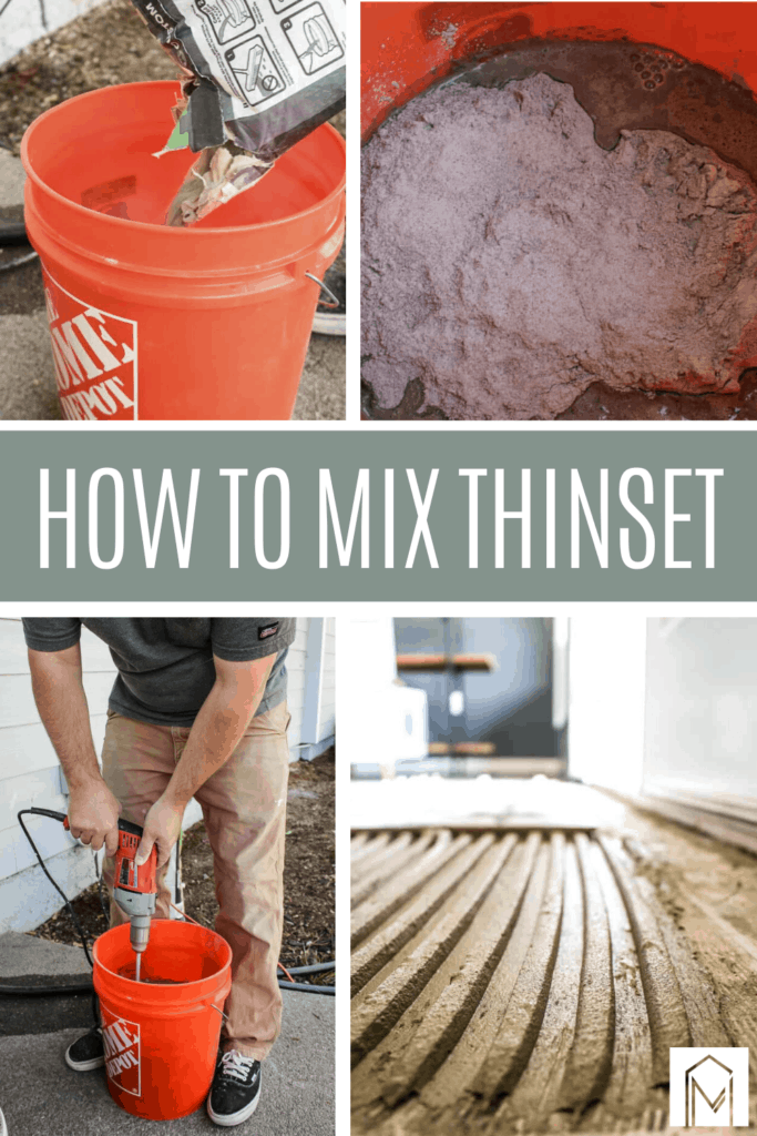 Grid of thinset mixing process with step by step images with text overlay that says how to mix thinset