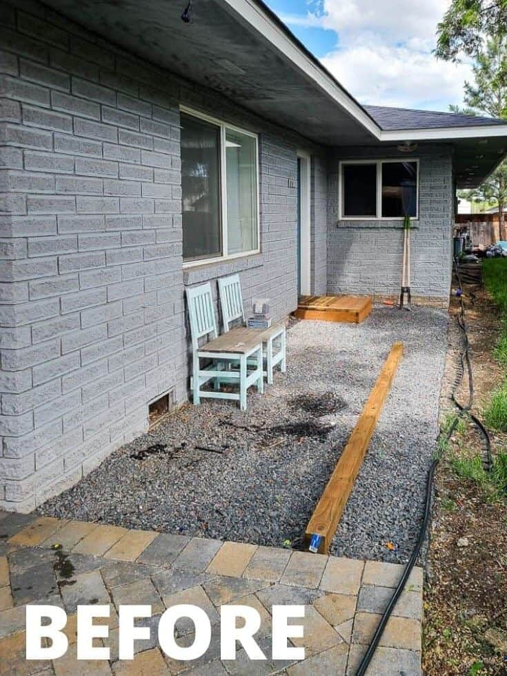Before view of the backyard with gravel and concrete deck