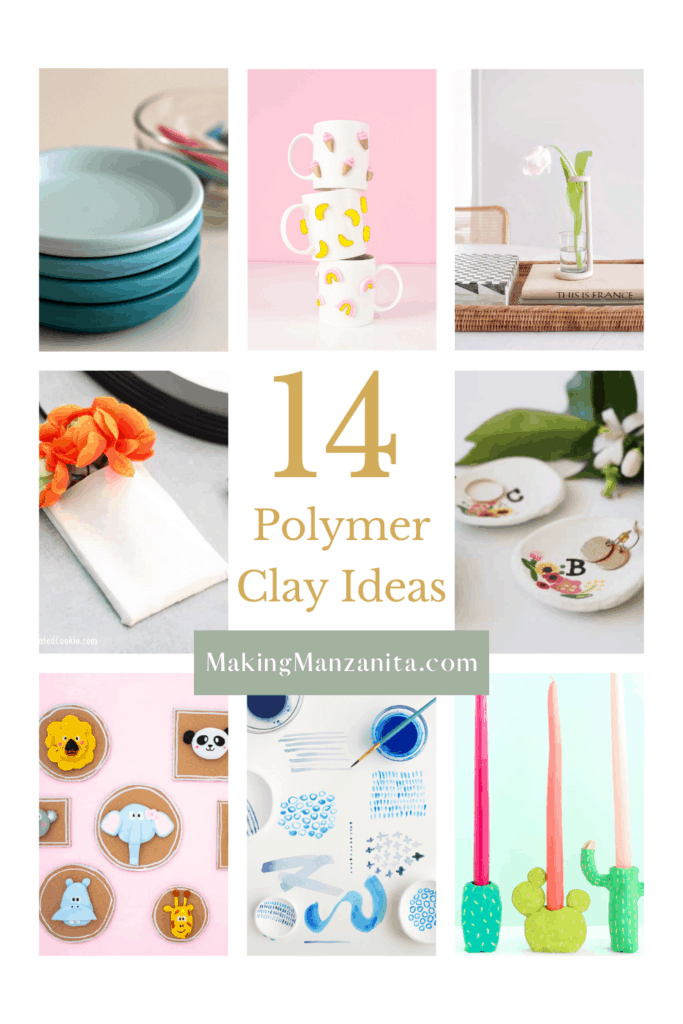 Collage of different clay crafts with text overlay that says 14 polymer clay ideas