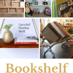 Collage of different ways to create bookshelves with text overlay that says bookshelf 16 ideas