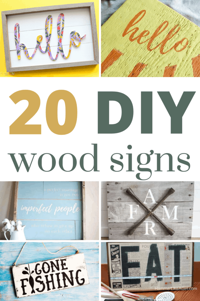 Collage of different wood sign projects with text overlay that says 20 DIY wood signs