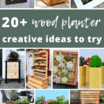 Collage of different plant box with text overlay that says 20+ wood planter creative ideas to try
