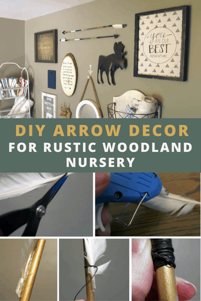 Before and after the diy wood arrow decor with text overlay that says diy arrow decor for rustic woodland nursery