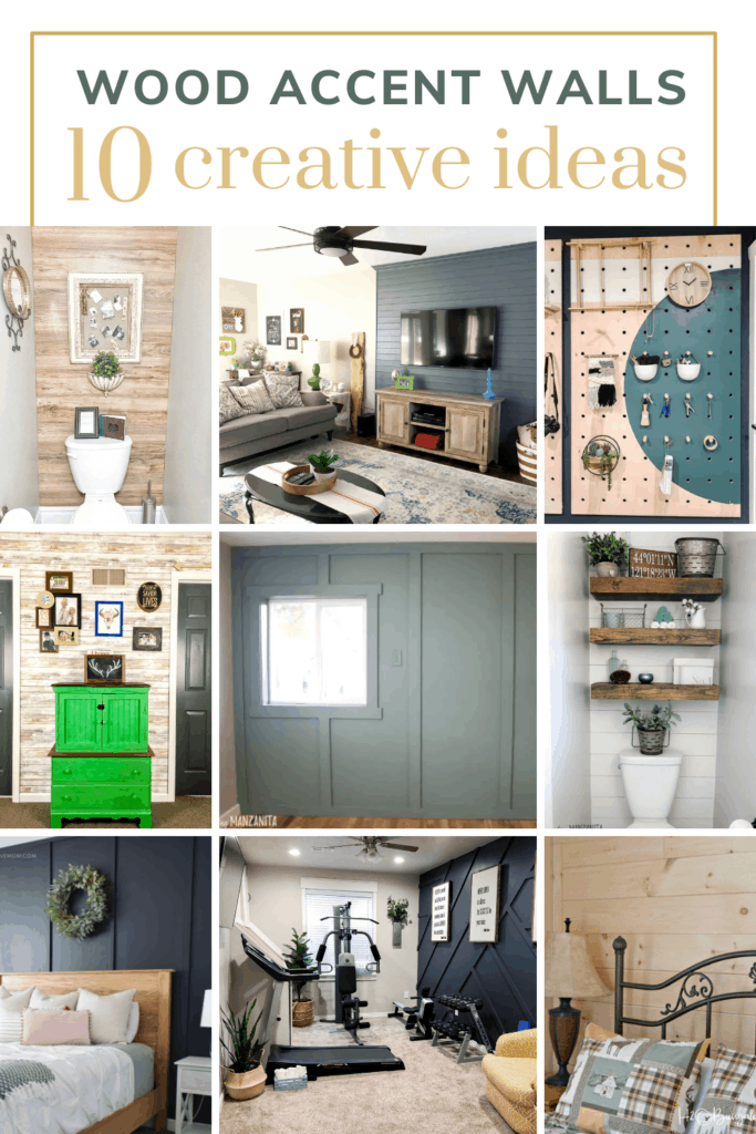 Collage of rooms with diy accent walls with text overlay that says wood accent walls 10 creative ideas