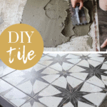 Collage of man putting mortar on the floor and finished format tiles laid on the floor with text overlay that says DIY tile