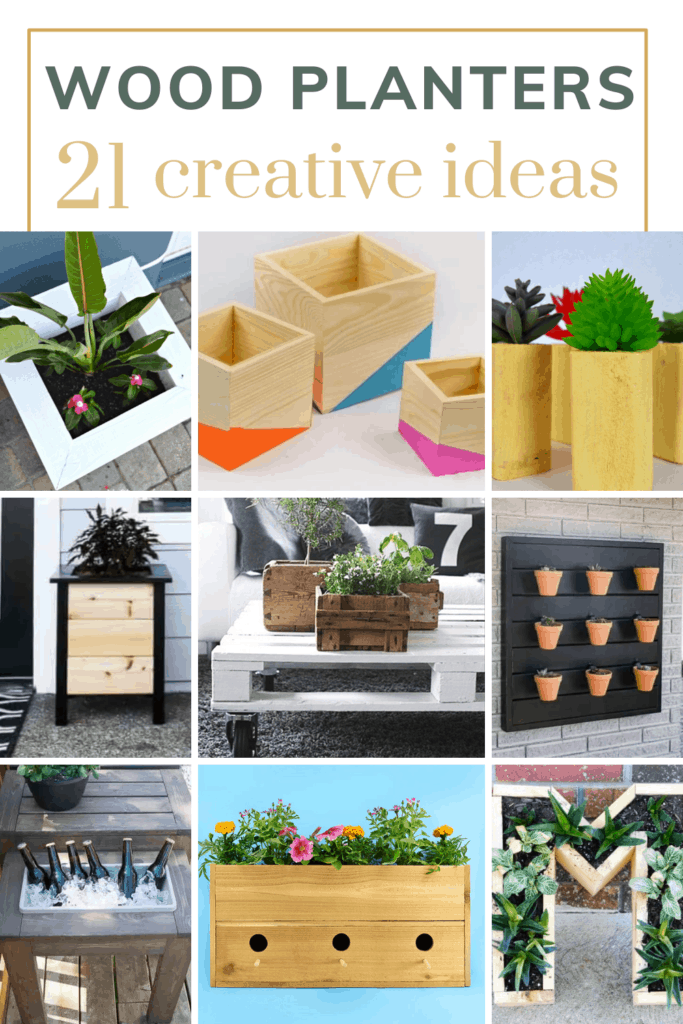 Collage of different creative plant boxes with text overlay that says wood planters 21 creative ideas