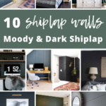 Collage of different rooms with shiplap with text overlay that says 10 shiplap walls moody & dark shiplap
