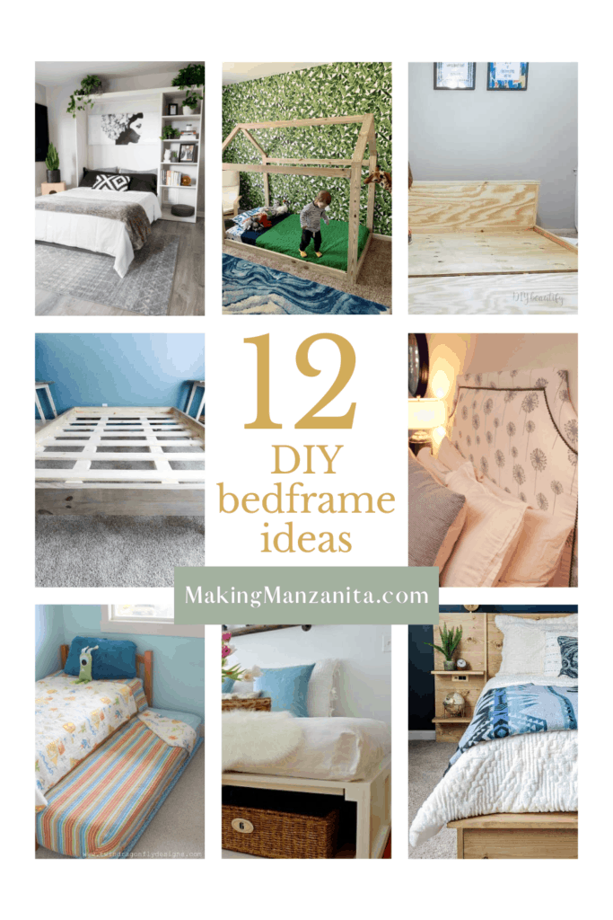 Collage of different bed frames with text overlay that says 12 DIY bed frame ideas
