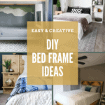 Collage of different bed frames with text overlay that says DIY bed frame ideas