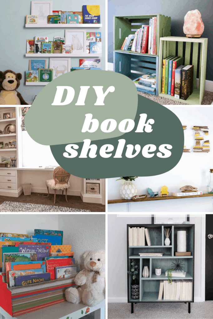 Collage of different ways to create bookshelves with text overlay that says DIY bookshelves