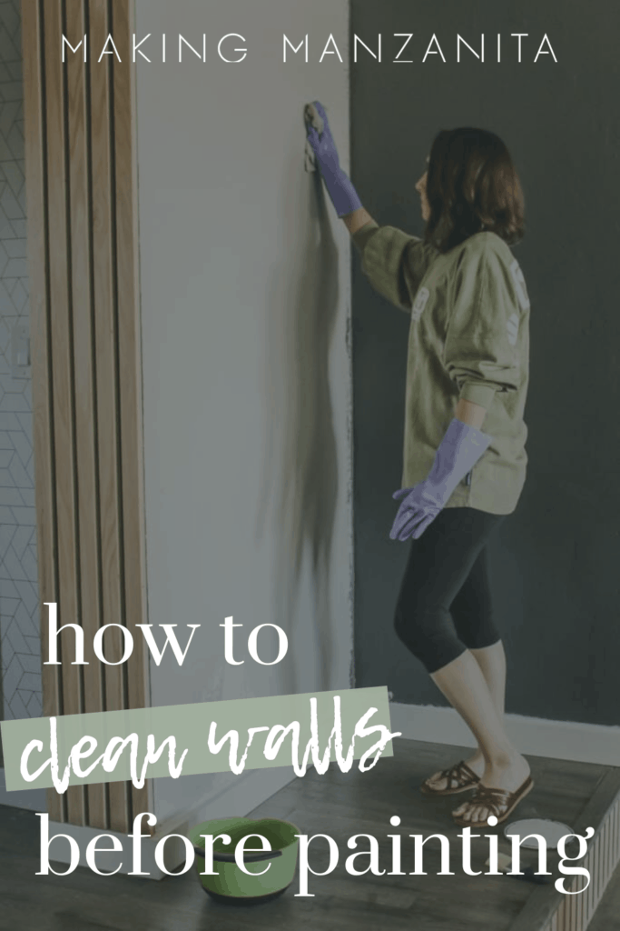 Woman wearing gloves wiping the walls with a cloth with text overlay that says how to clean walls before painting