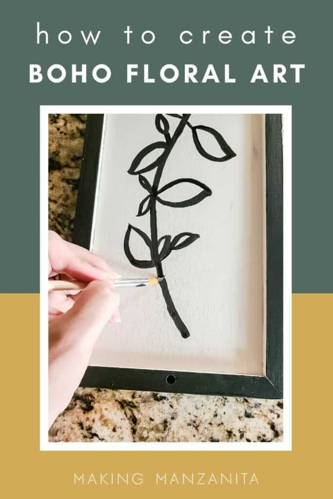 Learn how to make this unique boho floral line art with a thrift store frame and some paint
