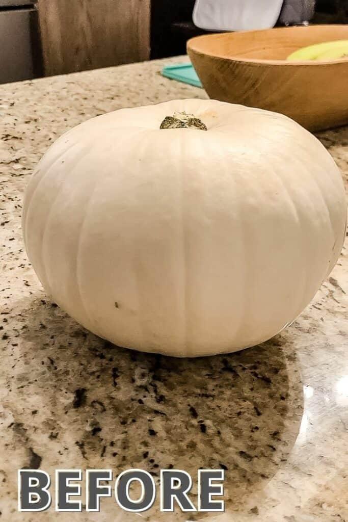 white pumpkin on counter top
