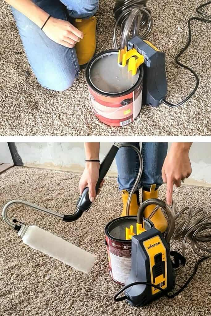 Collage of multi-room powered roller suction tube placed at the top of the paint can top image and woman holding the powered roller waiting for the paint to go inside the suction bottom image