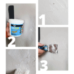 4 step collage of filling nail holes in wall with text overlay that says how to fill nail holes