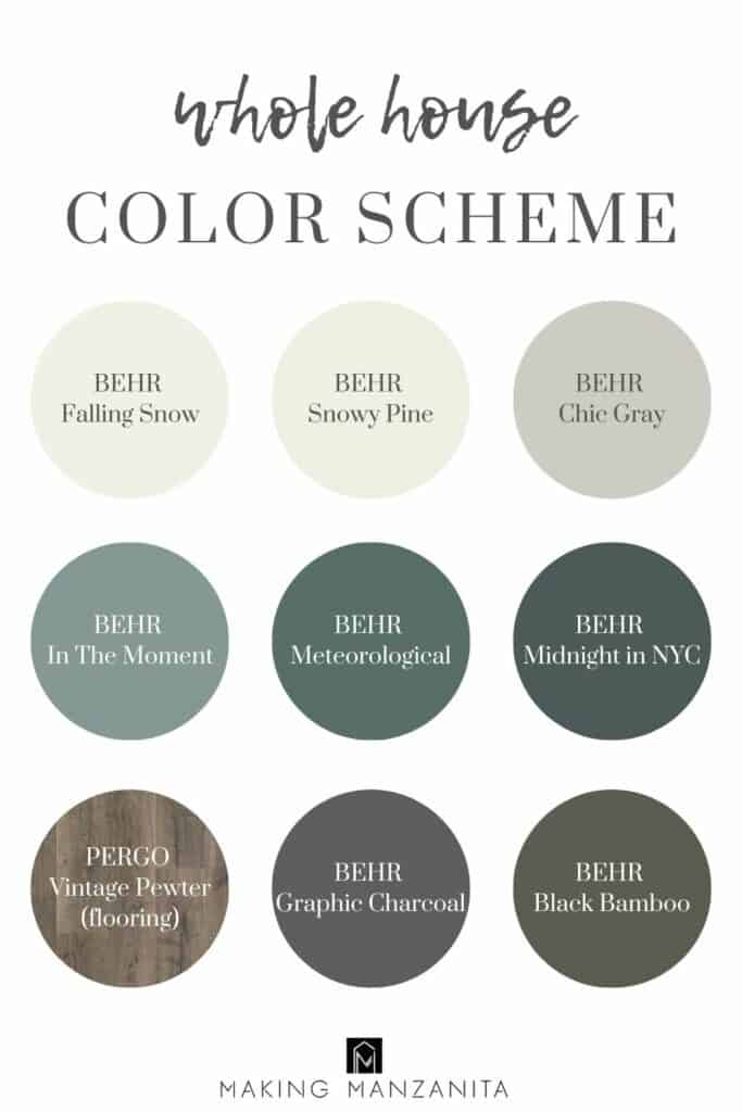 Neutral and blue and green whole house color scheme in circles with the paint color names