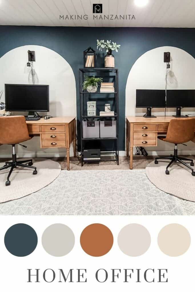 Dark and moody home office look with dark green with color scheme in circles and text overlay that says home office