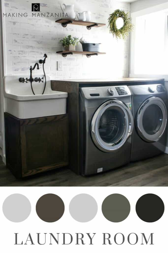 Farmhouse Laundry area with faux brick wall, pipe shelving and wooden folding counter with farmhouse sink in a neutral color scheme in circles and text overlay that says Laundry room